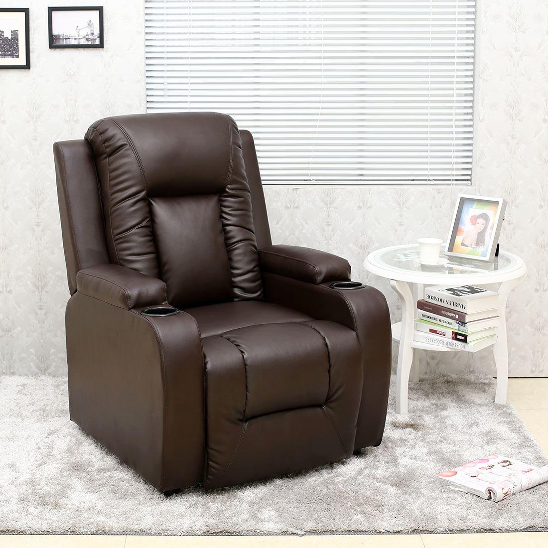 sofa armchair drink holder caddy secional sofas oscar leather recliner w holders chair