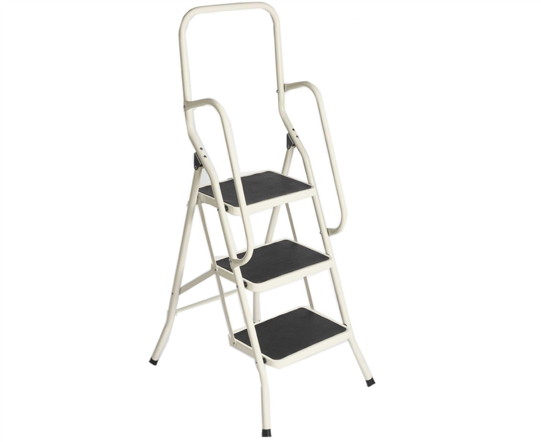 3 Step Safety Ladder Buttermilk Foldable Non Slip Tread