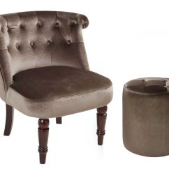 Bedroom Chair On Ebay Bar Height Outdoor Table And Chairs Buttoned Back Footstool Furniture Velvet