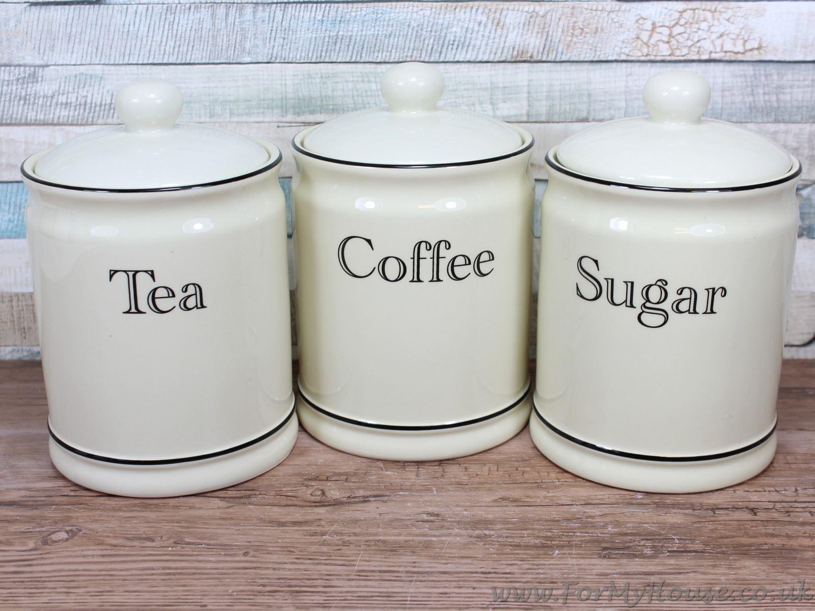 kitchen storage canisters gel mat cream ceramic tea coffee sugar canister