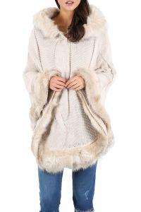 Womens Faux Fur Trim Hem Pullover Ladies Hooded Shawl Cape ...