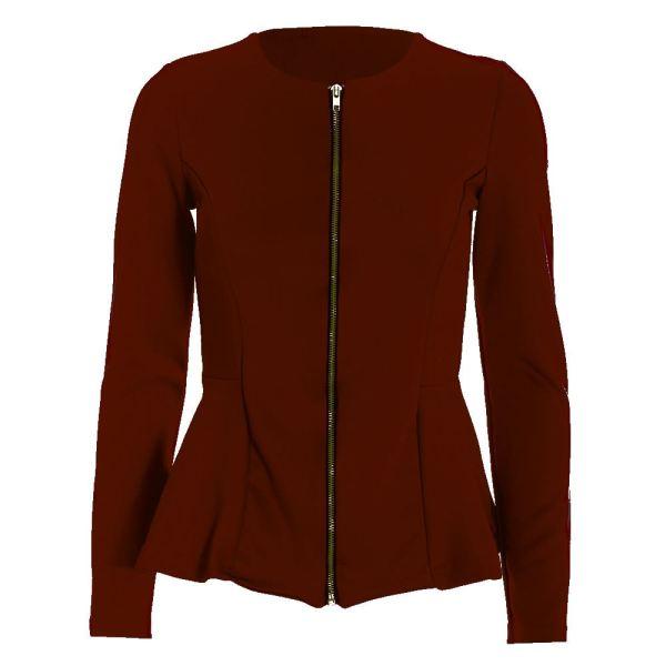 Womens Zip Peplum Ruffle Frill Tailored Blazer Ladies