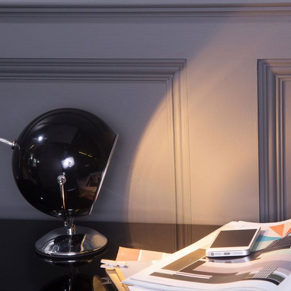 Table Lamp Retro Styled Eyeball Chrome Black White Desk