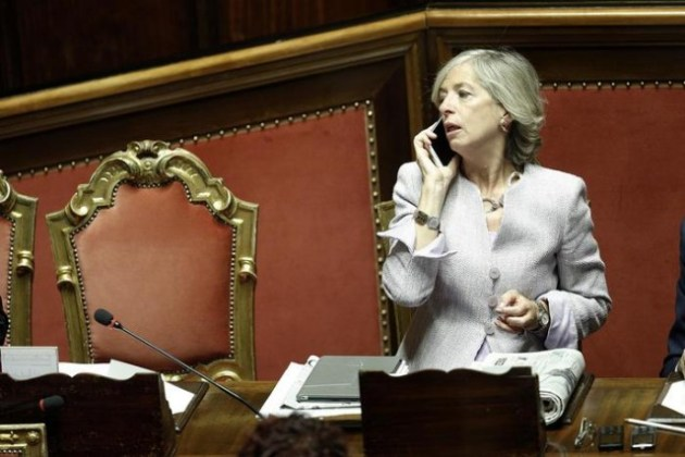 Il Ministro dell'Istruzione Stefania Giannini in Senato durante le votazioni degli emendamenti alla Riforma Costituzionale, Roma, 6 ottobre 2015. ANSA/GIUSEPPE LAMI