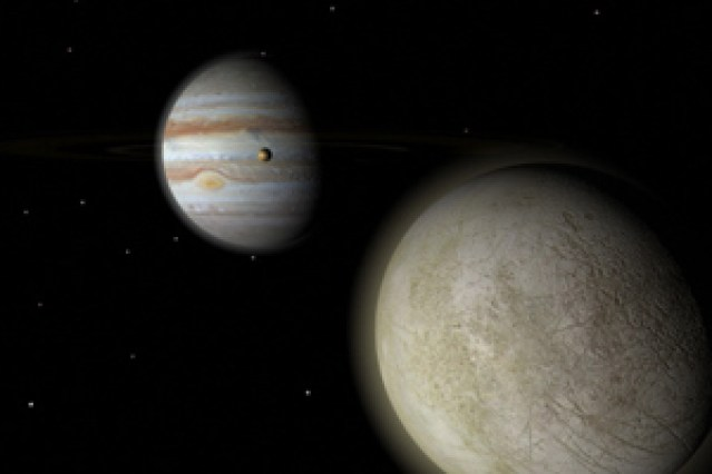 Jupiter with moons, Europa and Io
