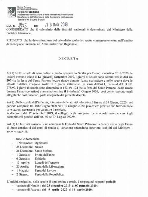 Calendario Delle Festivita 2020.Scuola Il Calendario 2019 2020 Delle Lezioni In Sicilia Si