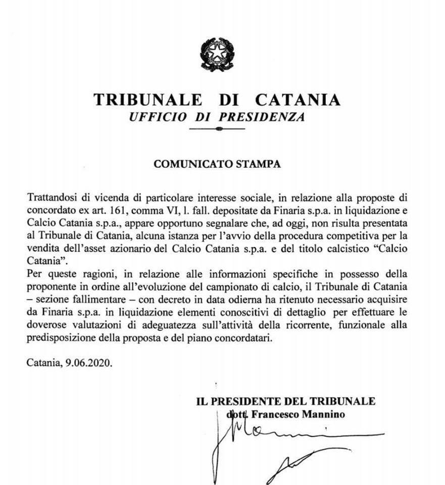 Calcio Catania Tribunale