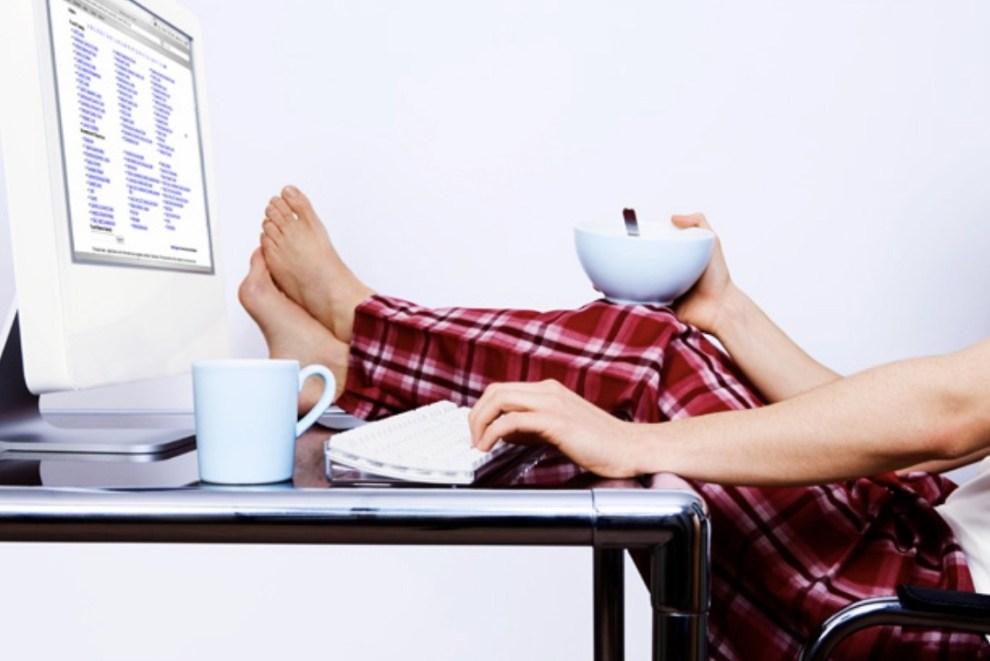 smart working in pigiama