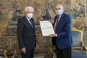 Pippo Baudo e Sergio Mattarella