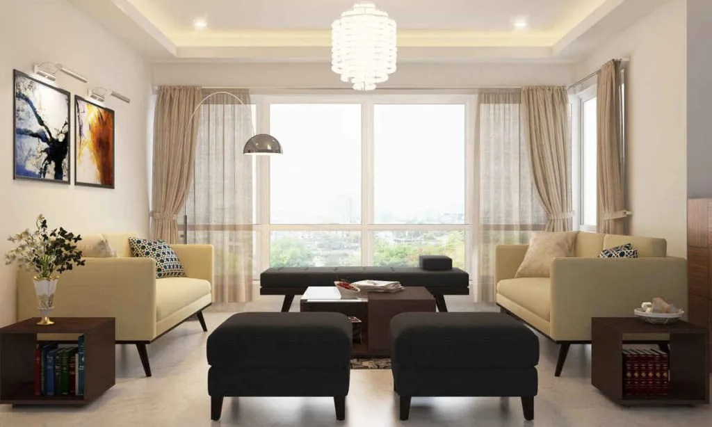dark wood furniture living room decorating ideas burnt orange accessories how to style a with cream walls and grey upholstery on the daybed ottomans harmonize overall neutral theme of this other contemporary elements like patterned cushions