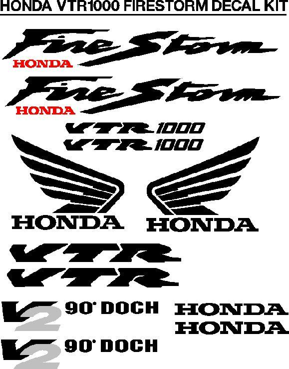 Honda Firestorm VTR1000 decals stickers graphics kits