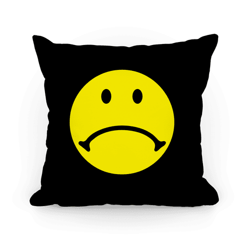 sad smiley face throw