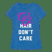curly hair don't care dark t-shirt