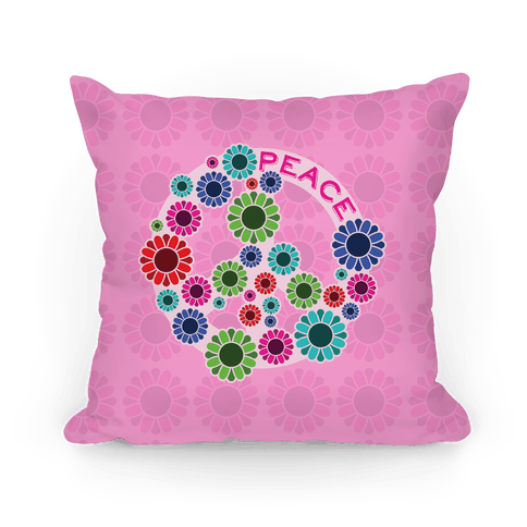 Floral Peace Sign  Pillows  HUMAN