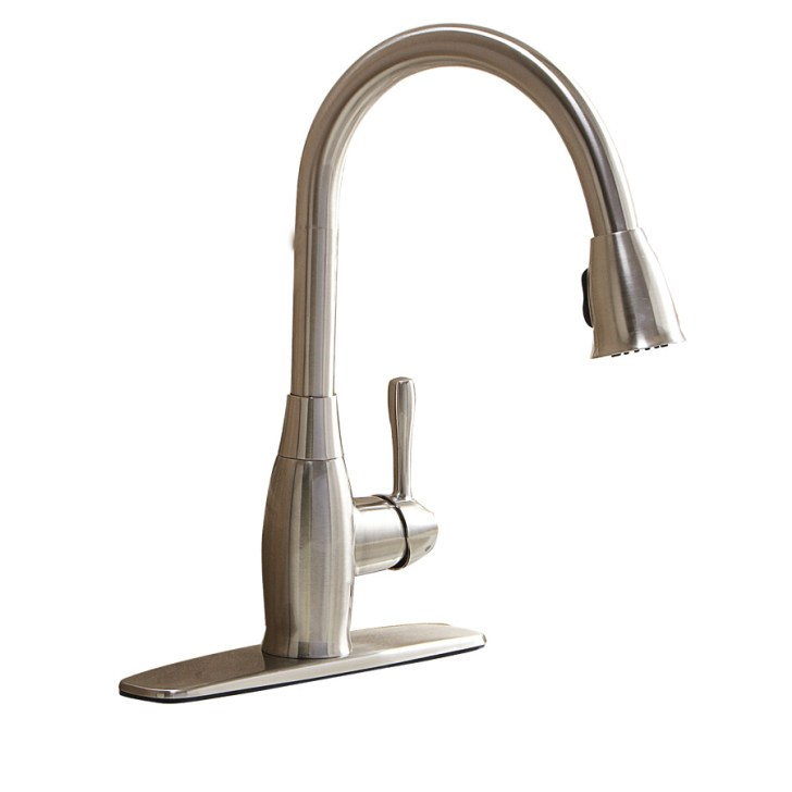 Shop Aquasource Brushed Nickel Handle Pull Down Kitchen Faucet