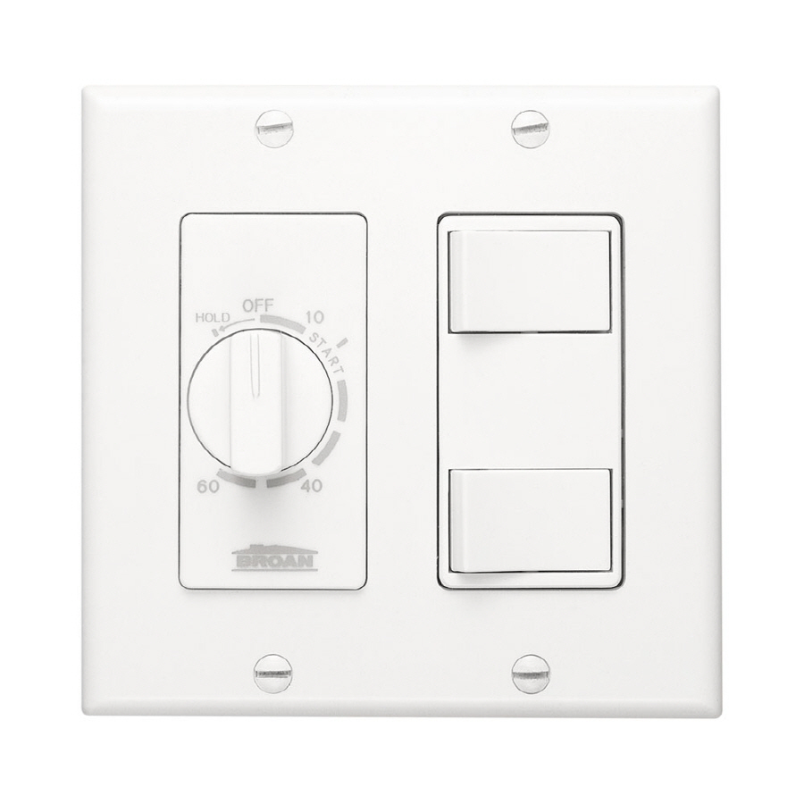 Shop Broan 20-Amp White Single Pole Timer Light Switch at