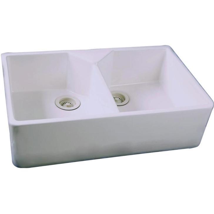 White Double Basin Apron Front Farmhouse Kitchen Sink