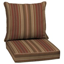 Allen Roth Stripe Chili Deep Seat Patio Chair