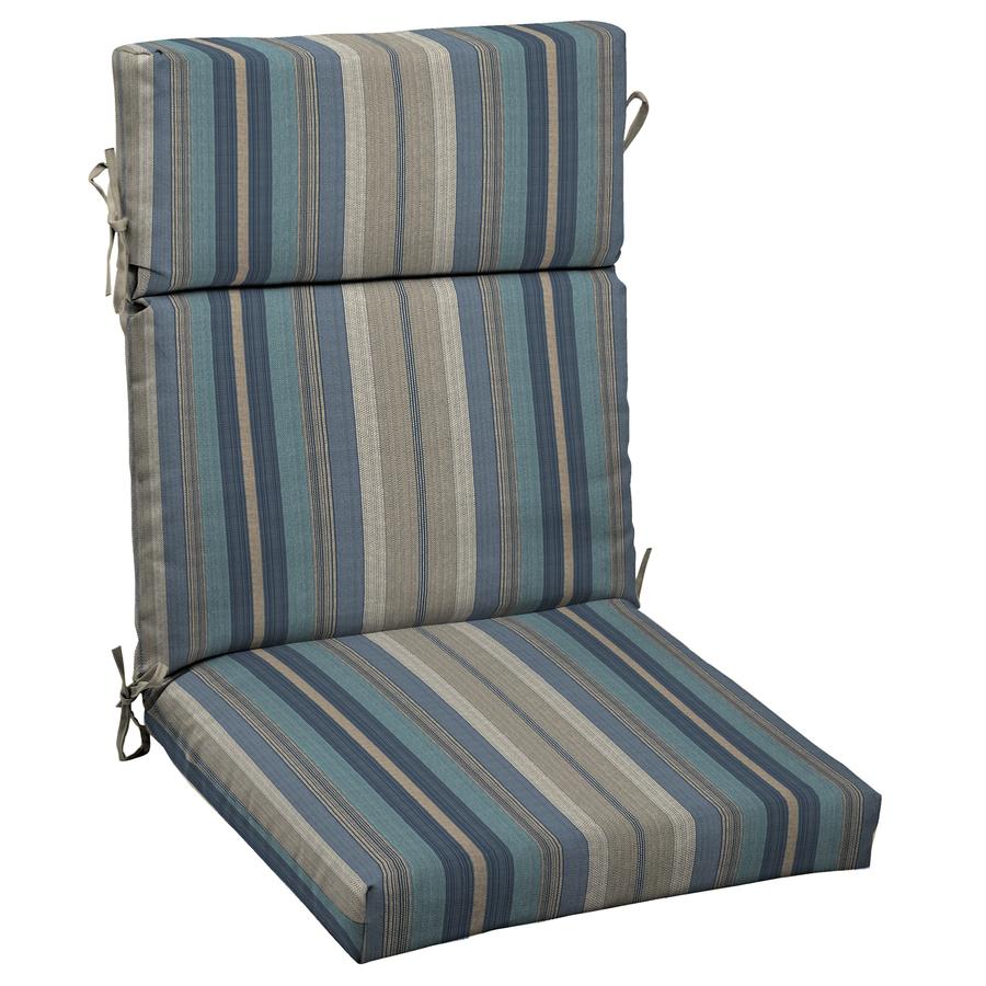 Shop allen  roth Stripe Blue Standard Patio Chair Cushion