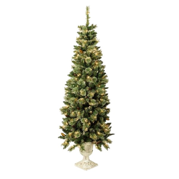 Holiday Living 5.5-ft Indoor Outdoor Pre-lit Spruce Artificial Christmas Tree With 150