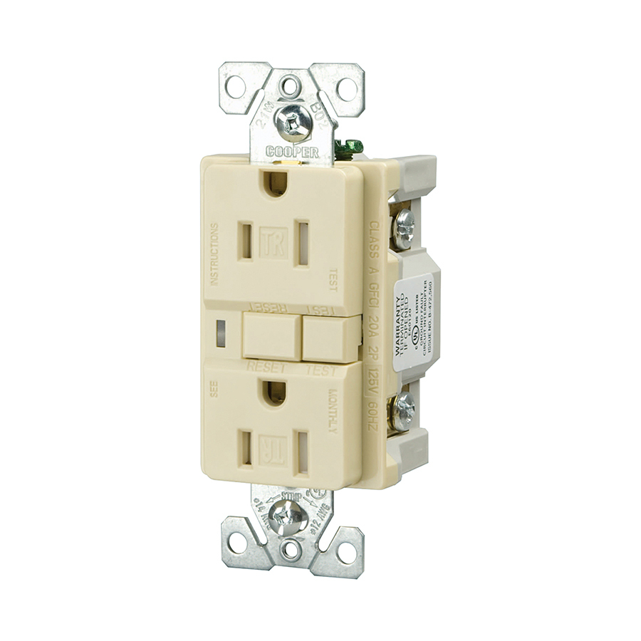 Cooper Wiring Devices 15amp Ivory Decorator Gfci Electrical Outlet