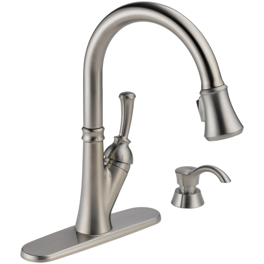 lowes delta kitchen faucet cabinets with drawers shop savile stainless 1-handle pull-down ...
