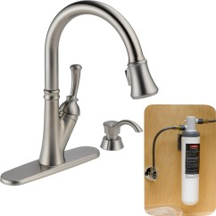 Delta Savile Stainless 1 Handle Pull Down Kitchen Faucet Cabinets Houston Area With Filtration ...