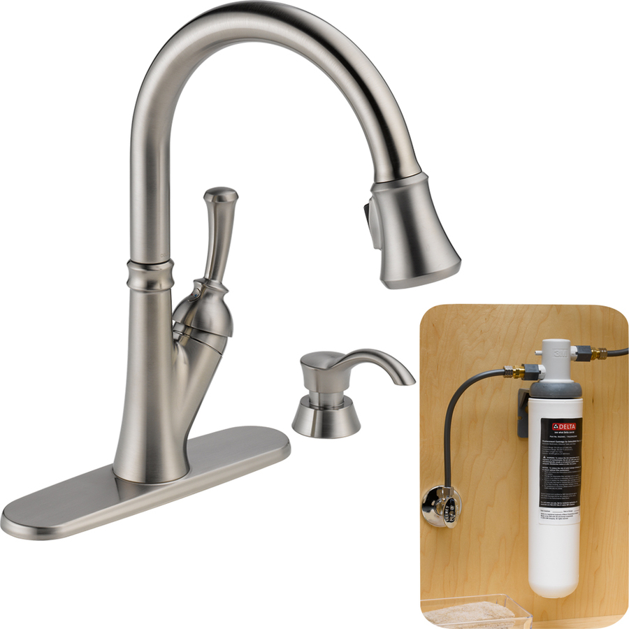 delta savile stainless 1 handle pull down kitchen faucet recessed lighting with filtration ...