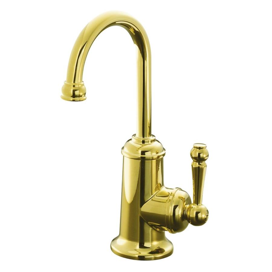 high flow rate kitchen faucets cabinet spice rack shop kohler wellspring vibrant polished brass 1-handle ...