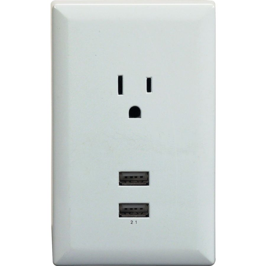 Shop RCA White USB Wall Plate Charger with 2 USB Ports and