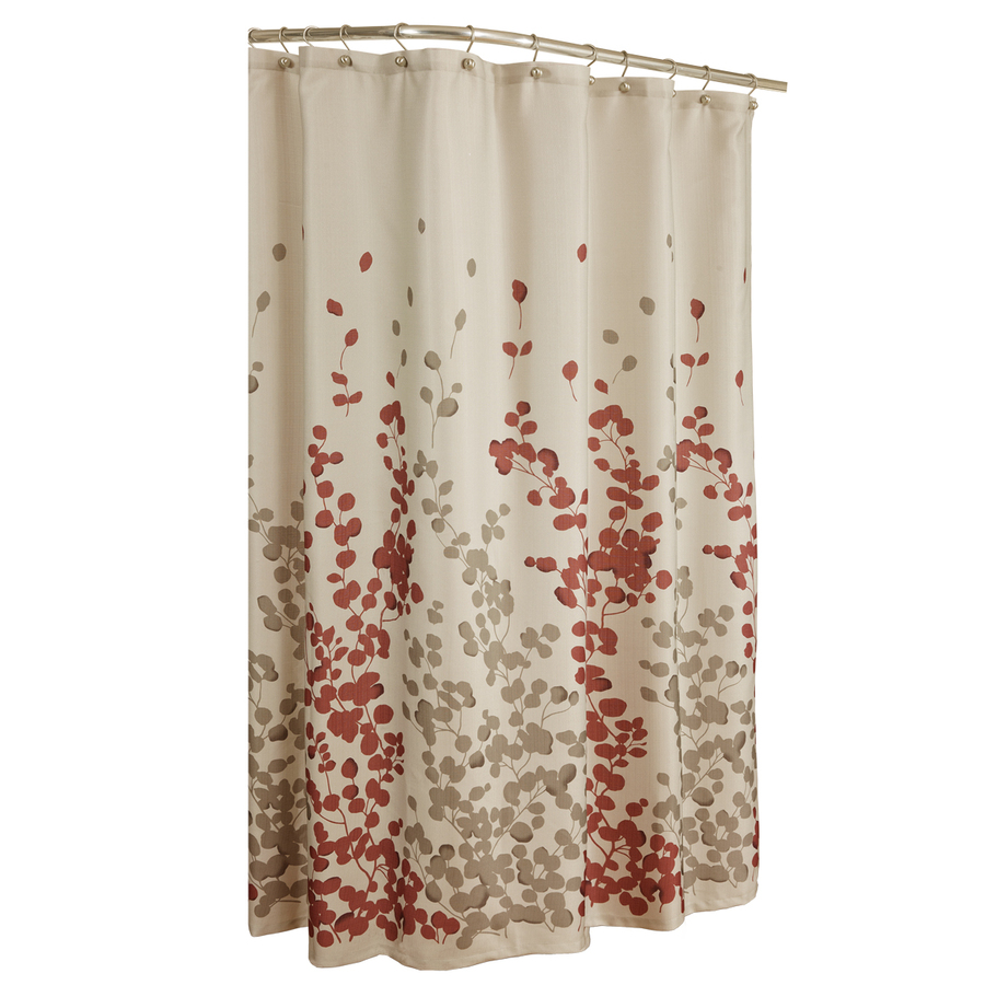 Shop allen  roth Rosebury Polyester PrintRed Choc Floral Shower Curtain at Lowescom