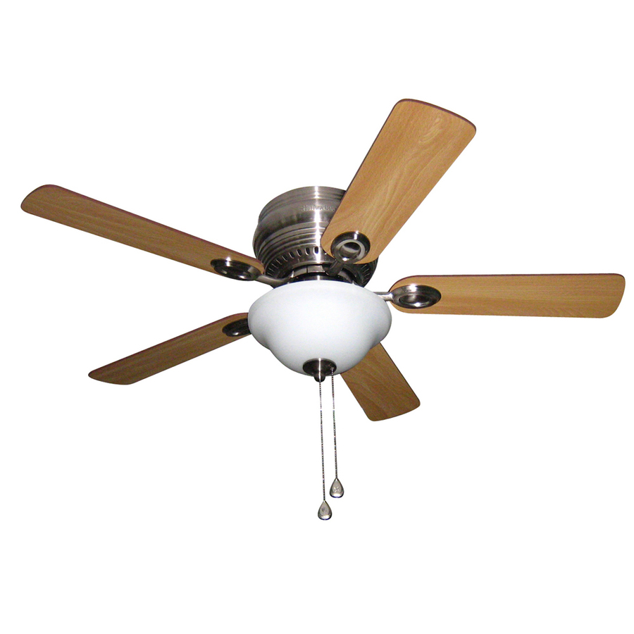 Shop Harbor Breeze Mayfield 44in Brushed Nickel Flush Mount Ceiling Fan with Light Kit at Lowescom