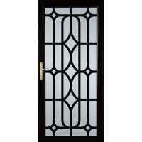 Shop LARSON Citadel Nickel Black Aluminum Security Door ...