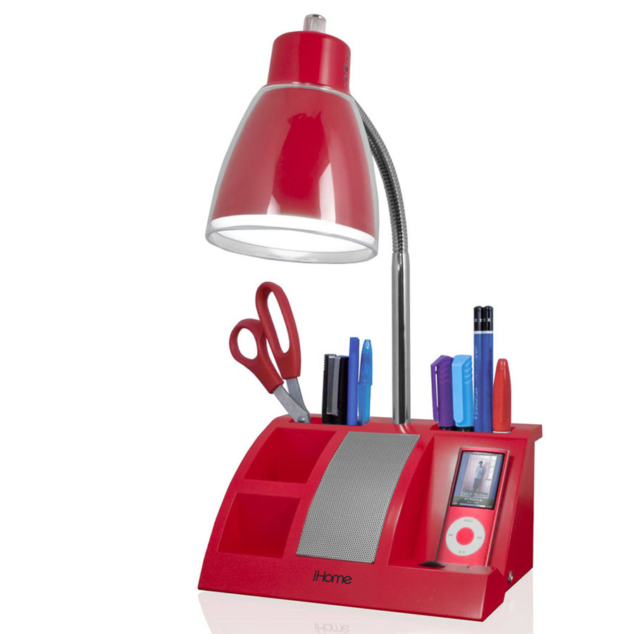 Shop iHome 1112in Adjustable Red Desk Lamp with Plastic