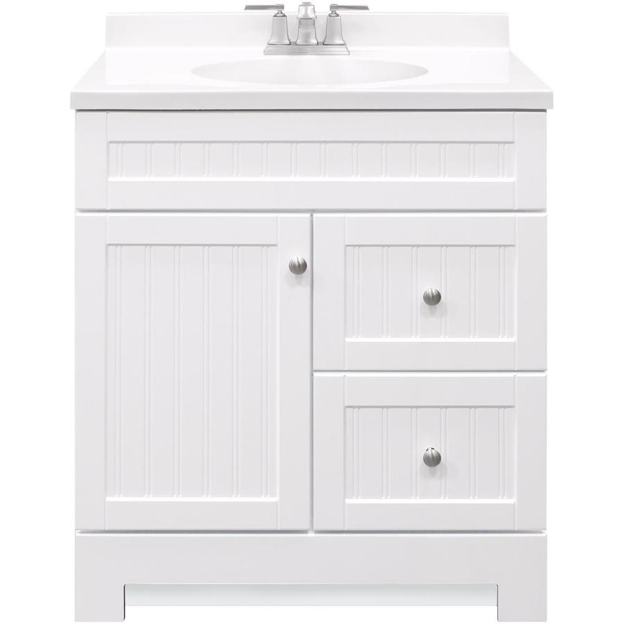 Style Selections Ellenbee 30 5 In White Single Sink Bathroom Vanity With White Cultured Marble Top In The Bathroom Vanities With Tops Department At Lowes Com