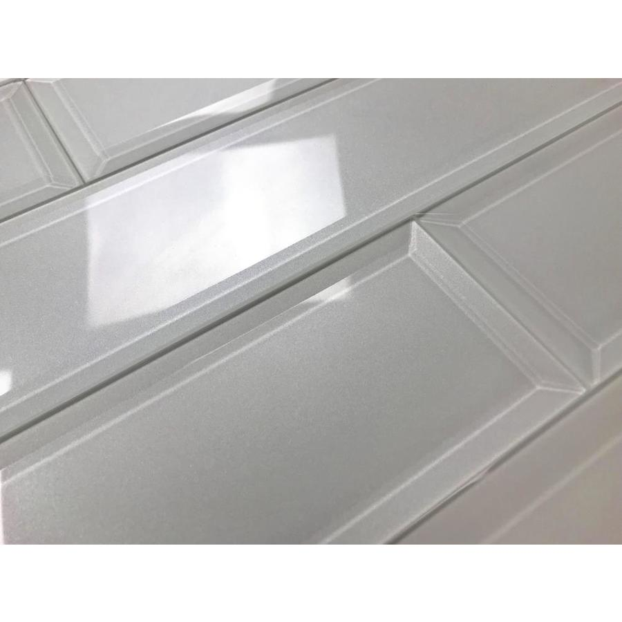 glass tiles tools home improvement abolos frosted elegance glossy white 3 x 12 beveled glass subway backsplash tile
