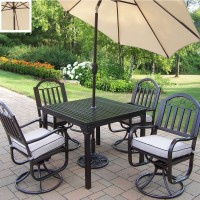 Shop Oakland Living 5-Piece Cushioned Wrought Iron Patio ...
