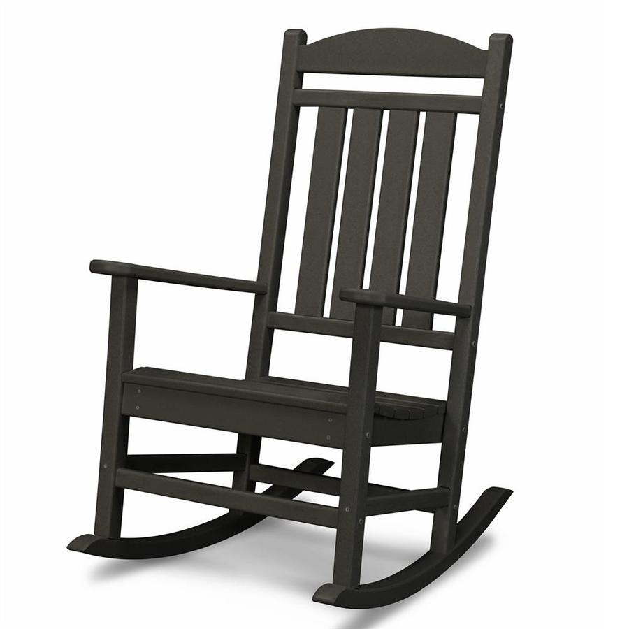 Shop POLYWOOD Black Recycled Plastic Slat Seat Outdoor