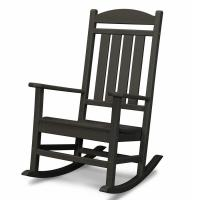 Shop POLYWOOD Black Recycled Plastic Slat Seat Outdoor ...