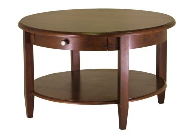 Winsome Concord Round Wood Coffee Table In Antique Walnut