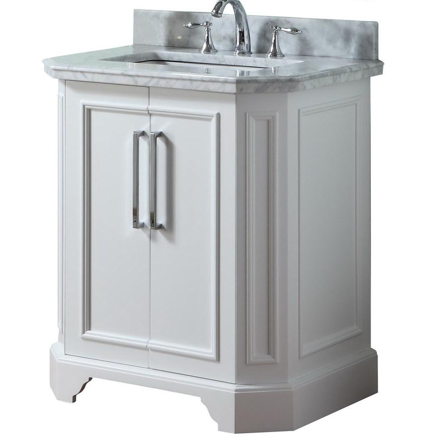 Shop allen  roth Delancy White Undermount Single Sink Birch Bathroom Vanity with Natural Marble