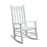 Shop Garden Treasures White Wood Slat Seat Outdoor Rocking