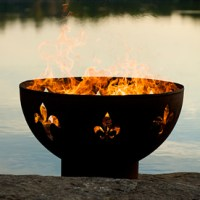 Shop Fire Pit Art 36-in W Iron Oxide Patina Steel Wood ...