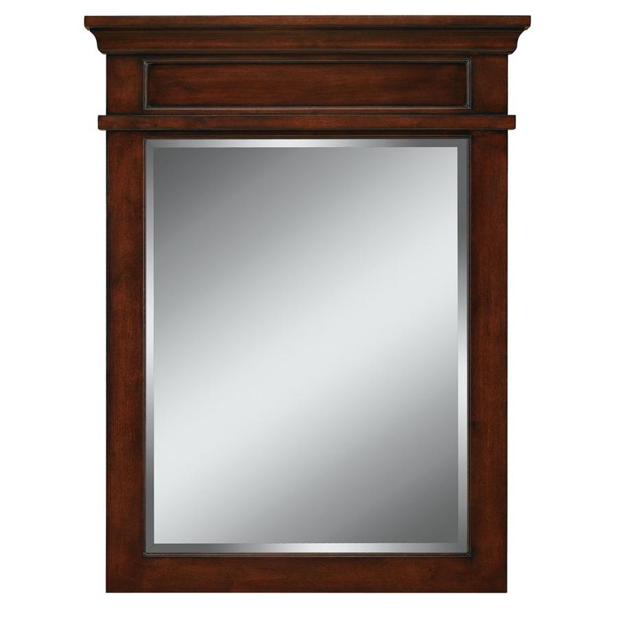 Shop allen  roth Hartley 34in H x 26in W Mink Rectangular Bathroom Mirror at Lowescom