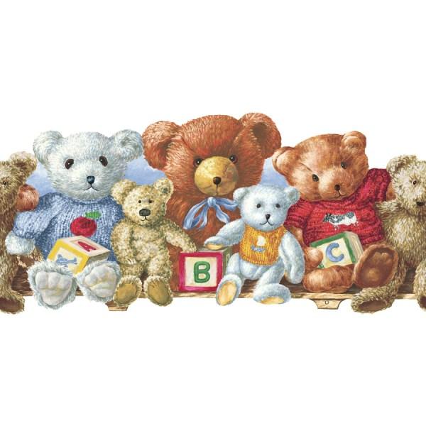 "Allen Roth 5"" Teddy Bears Prepasted Wallpaper"
