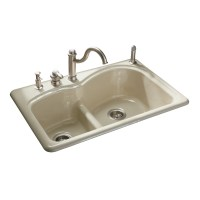 Shop KOHLER Woodfield Double-Basin Drop-in Enameled Cast ...