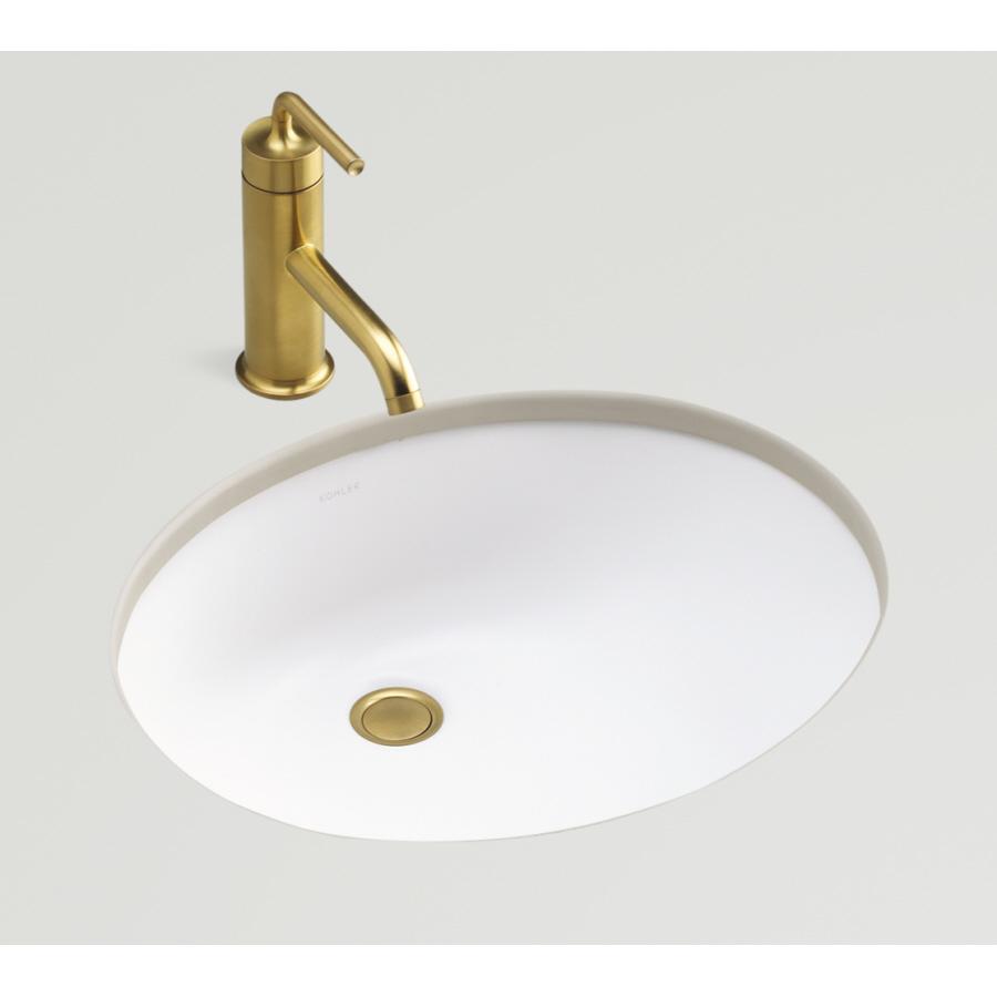 Shop KOHLER Caxton Honed White Undermount Oval Bathroom