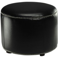 Shop Safavieh Hudson Black Leather Round Ottoman at Lowes.com