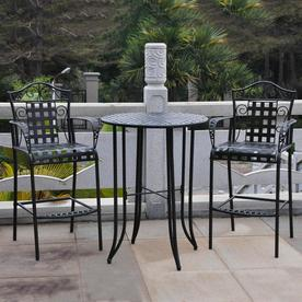 3 piece outdoor table and chairs lowes plastic patio dining sets at com display product reviews for mandalay antique black wrought iron bar set