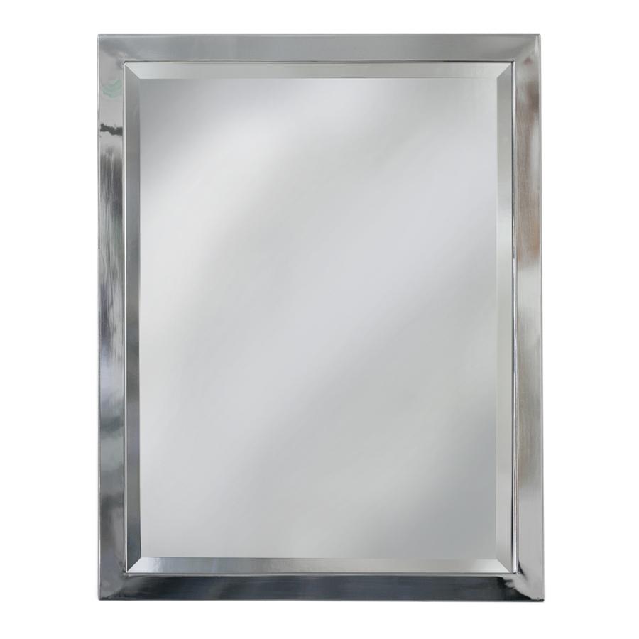 Shop allen  roth 30in H x 24in W Chrome Rectangular Bathroom Mirror at Lowescom